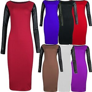 New Womens Plus Size Pu Wet Look Sleeve Long Sleeve Bodycon Midi ...