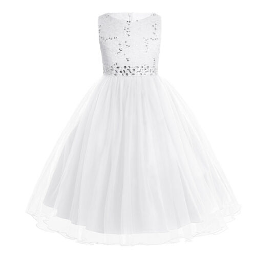 Kids Girls Flower Sequins Formal Occasion Party Wedding Pageant Communion Dress