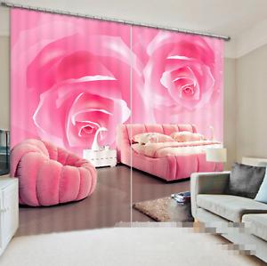 3D dos flores 7 Cortinas de impresión de cortina de foto Blockout Tela Cortinas Ventana au