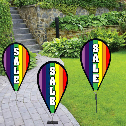 SALE Rainbow Extra Wide Swooper Flag Jumbo Sign Feather Banner 8ft +POLES+SPIKE