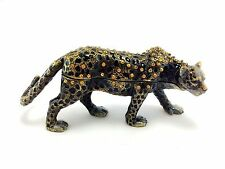 Cheetah Jaguar Leopard Jewelry Trinket Box Decorative Collectible Animal 02033B