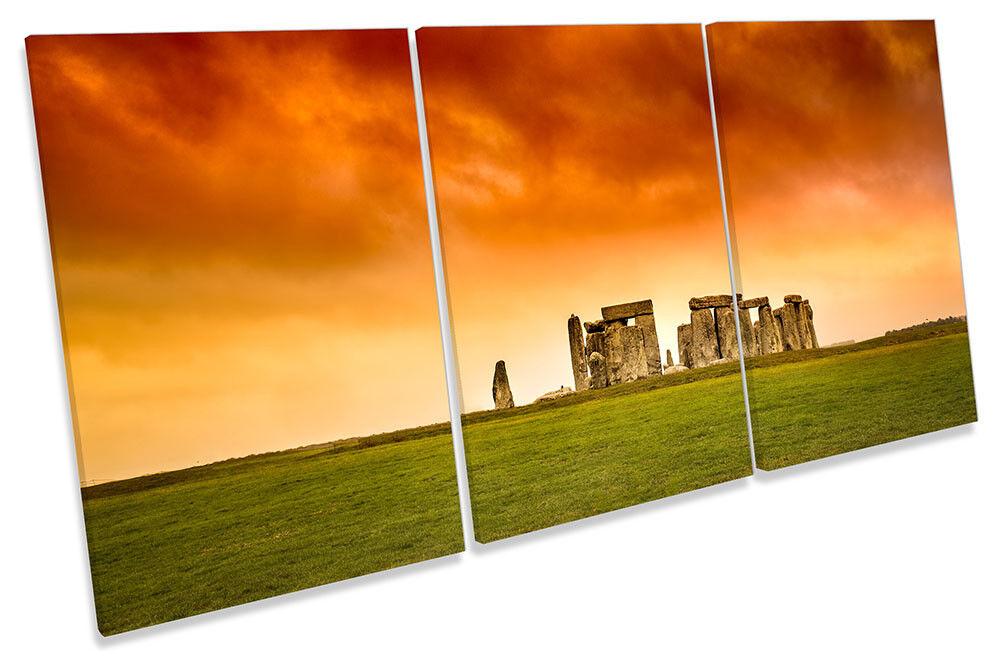 Stonehenge Orange Sunset Framed CANVAS PRINT TREBLE Wall Art