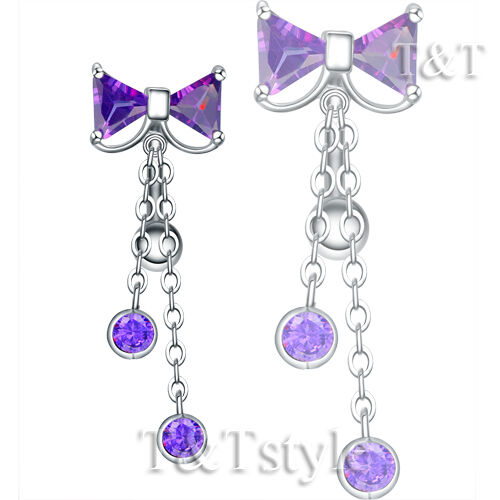 Quality Sparkling TTStyle Reverse CZ BOW Dangle Belly Button Ring 4 Colors