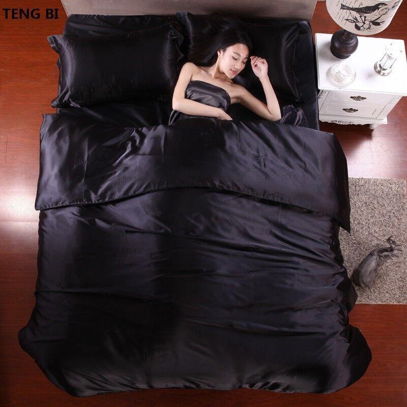 100% Pure Satin Silk Bedding Set Home Textile King Größe Bed Set Duvet Cover