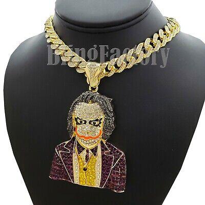 "Details about  /Men/'s Hip Hop Joker pendant /& Iced 20/"" 1 Row Big CZ Choker Chain Bling Necklace"