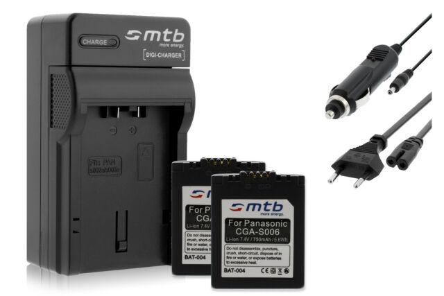 Cargador para Panasonic Lumix DMC-FZ30 FZ38 FZ50 2x Baterìas CGA-S006 FZ35
