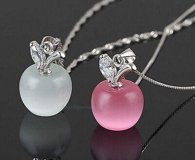 Apfel Anhänger Zirkonia Kristall + Panzerkette Silber plattiert Weiß Pink Opal