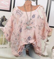 OVERSIZE Shirt VINTAGE Tunika BLUMEN Sommer Rosa SHIRT SPITZE Stickerei 44 46 48