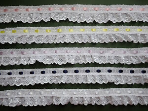 2-METRES-White-Gathered-Broderie-Anglaise-Ribbon-Slot-Lace-Trim-1-5-034-4cm