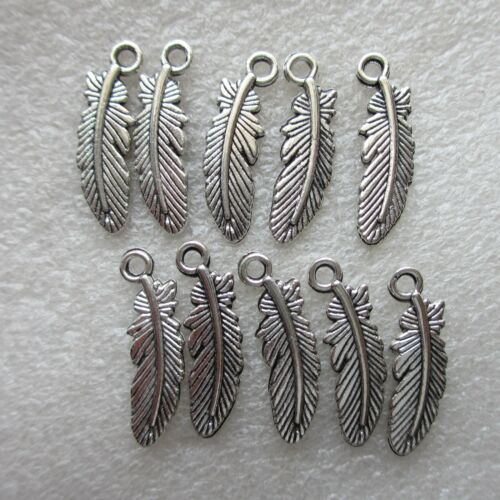 10 Feather Charms 20 mm Plaqué Argent Pour Artisanat Fabrication de Bijoux Vendeur Britannique