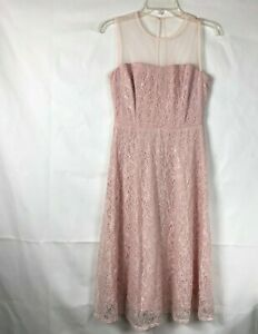 Maggy-London-Womens-Pink-Lace-Illusion-Dress-size-4-Sleeveless-A-line-Dress-50K