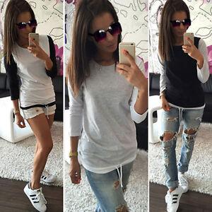 Donna-Girocollo-Maglia-Slim-maglione-Casual-Basic-T-shirt-maglietta