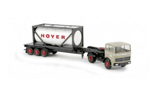 "1:87 #81044 Brekina MB LPS 1620 Sattelzug mit 20ft-Tankcontainer /""Hoyer/"""