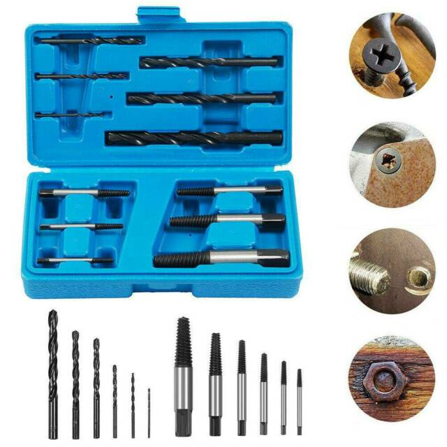 12x Broken Screw Extractor Set Stud Puller Remover Easy Outs with HSS Drill Bits