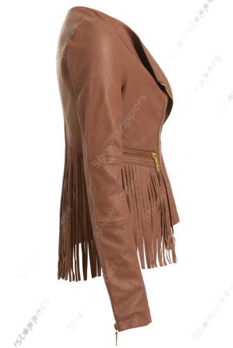 Size 8 10 12 14 16 NEU Damen BIKERJACKE FRANSEN PU KUNSTLEDER Schwarz Tan