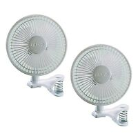 Lasko 6 Inch 2 Speed Portable Home Office Personal Clip On Fan, White (2 Pack)