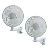 Lasko 6 Inch 2 Speed Portable Home Office Personal Clip On Fan, White (2 Pack) on sale