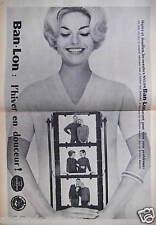 PUBLICITÉ 1958 LES SWEATERS NYLON BAN-LON L'HIVER EN DOUCEUR - ADVERTISING