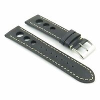Dassari Carrera Vintage Italian Leather Rally Racing Mens Watch Strap In Black