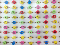 10pcs New Wholesale Lots face Children Polymer Clay Silver Rings Free