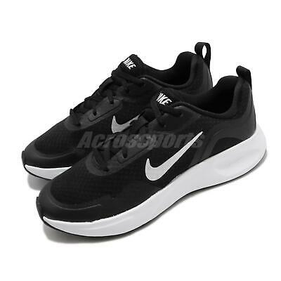 nike wearallday black white kid women running casual shoes