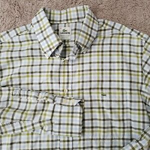 Lacoste-Blue-White-Check-Button-Up-Shirt-XL-44-Long-Sleeve-Plaid-Mens-Casual