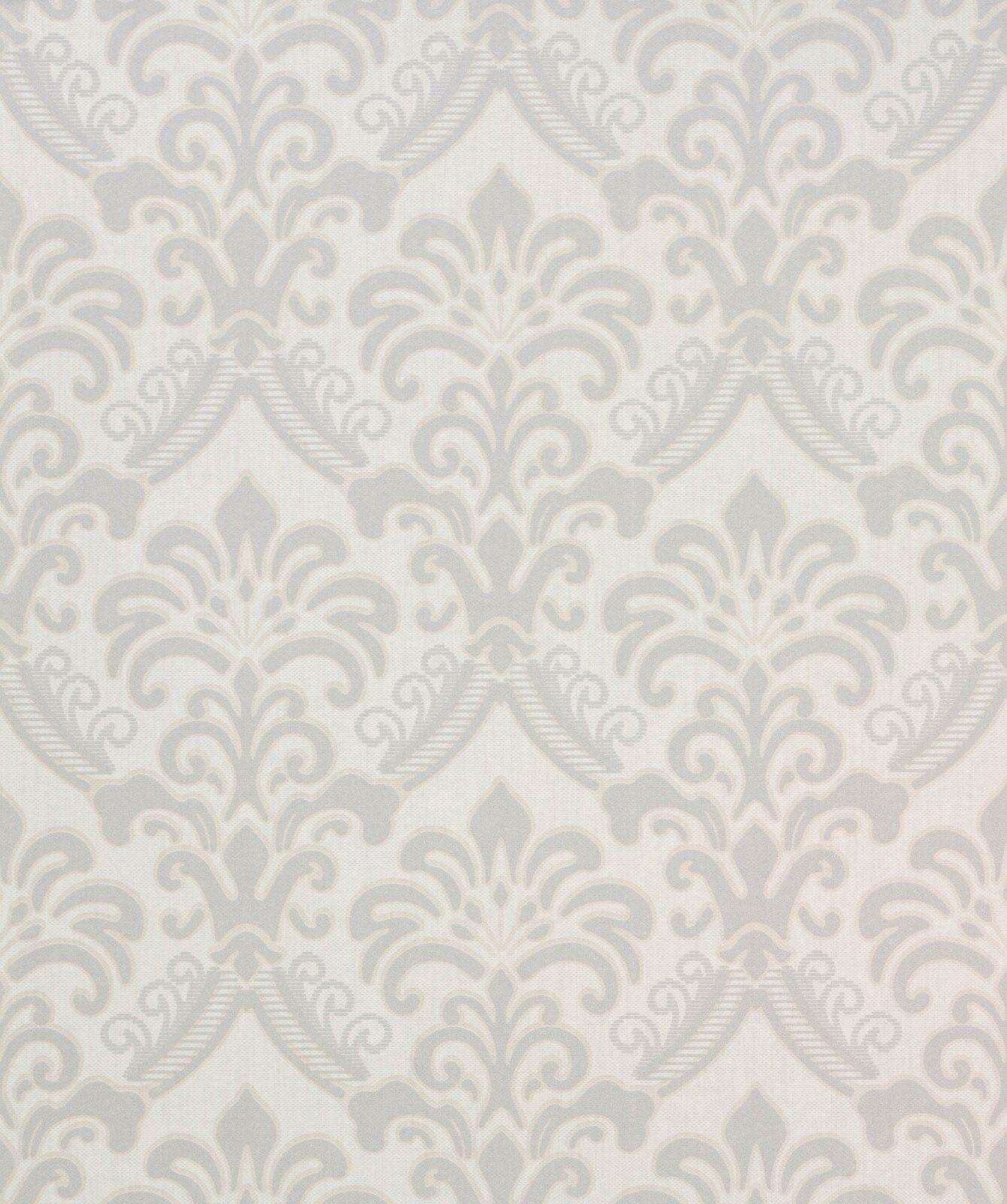 Tapete, Designtapete, Leinenimitat, florale Applikationen, Elfenbein, Silber
