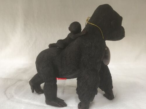 Silver Backed Gorilla with Baby Gorilla Ornament Figurine Model Gift Brand New