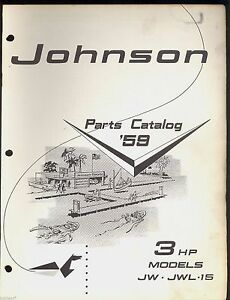 1959 johnson 3hp outboard motor parts manual jw jwl 15 models rh ebay co uk