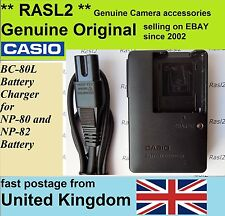 Genuine Original CASIO Charger BC-80L NP-80,Exilim EX- Z1 Z2 ZS200 ZS100 Z33 Z37