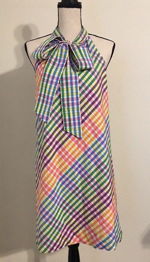 NEW JCREW  Tie-neck dress in rainbow gingham Größe6 Multi Farbe G5032