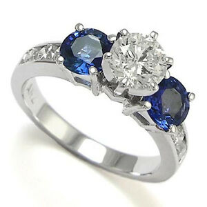White and Blue Sappihre Diamond Ring 18k White Gold Sizes 4 to 9.5 #R891