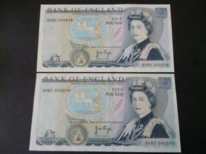 1973-paio-di-pagina-Cinque-sterline-di-banconote-consecutive-duggleby-B336-5-nota