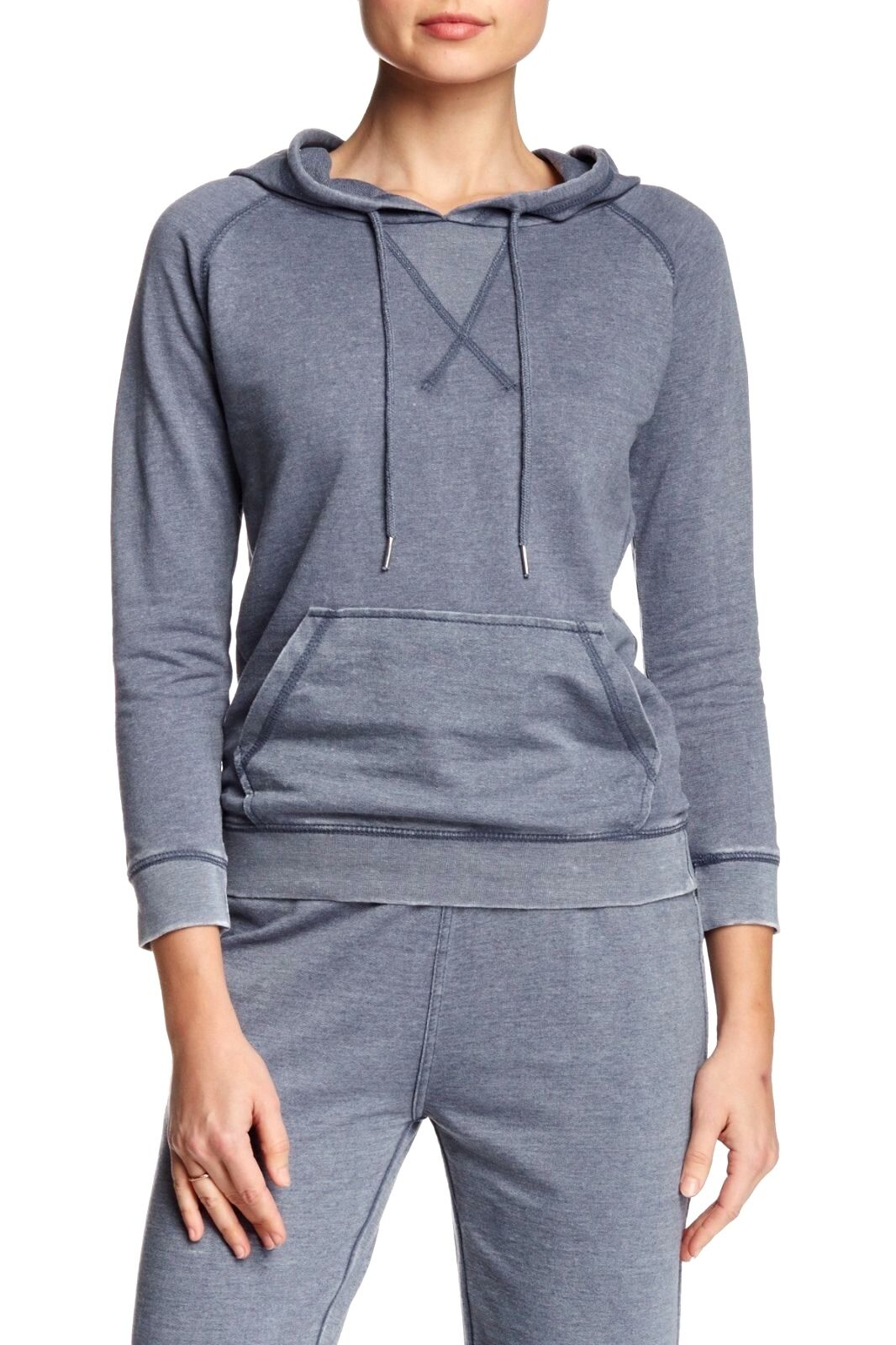 Central Park West - L - NWT  - bluee Distressed French Terry Hoodie Sweatshirt