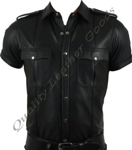 Premium Cuir synthétique police militaire uniforme style shirt Designs BLUF