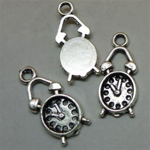 25pc Tibetan Silver clock Pendant Charms Beads Jewellery Craft GP740