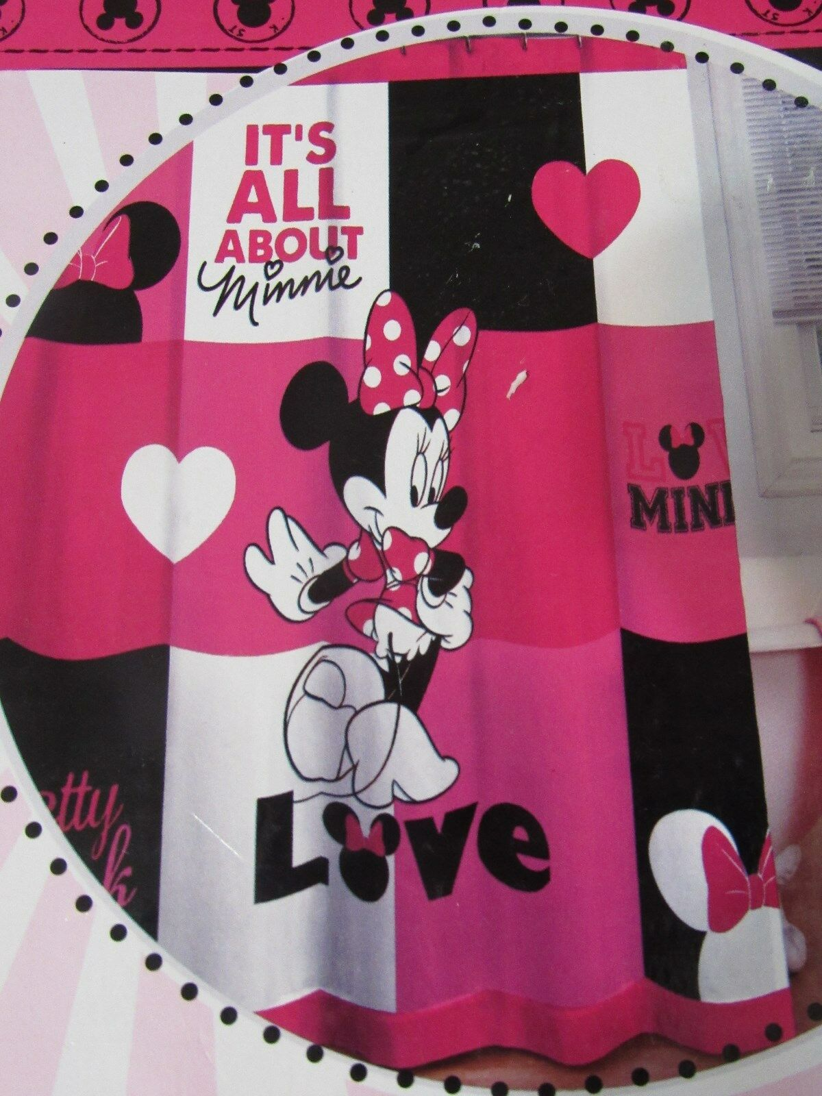 Disney Minnie Mouse Fabric Shower Curtain Hooks Girls Bath New 15