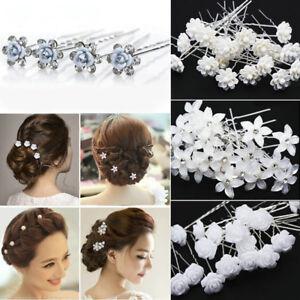 Hair Pin Clips Rhinestone Headwear Crystal Women Rose Flower Wedding Headpiece