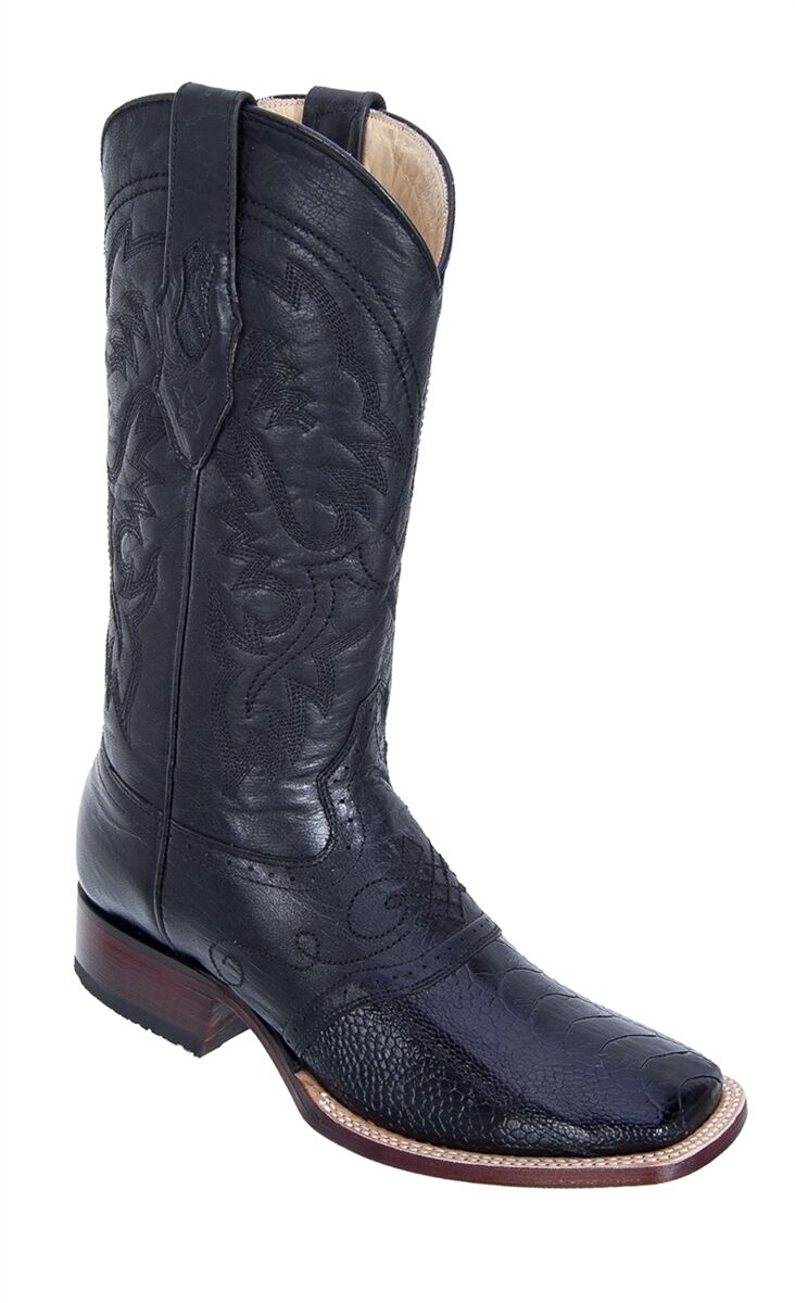 LOS ALTOS nero GENUINE OSTRICH LEG SQUARE TOE WESTERN COWBOY avvio EE 8210505