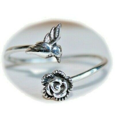 Small Hummingbird 925 Sterling Silver Ring Size 7
