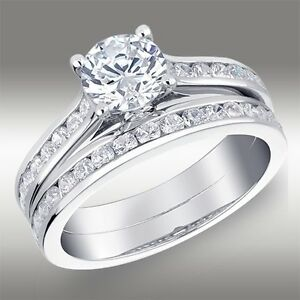 1-55-CT-Round-Cut-Engagement-Ring-Matching-Bridal-Band-Set-Solid-14K-White-Gold