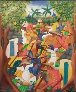 Signed-W-Nelson-Haitian-Art-Village-Painting-Haiti-Galeria-De-Arte-Jose-Diaz