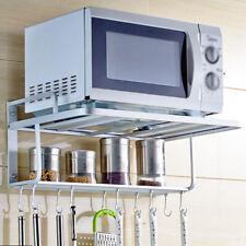 Kitchen Double Bracket Microwave Oven Wall Mount Shelf With Ten Detachable Hooks