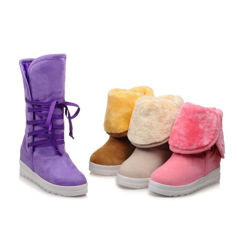 Boots purple pink beige yellow heel 4 like leather comfortable 9386