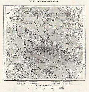 Eaux De Vie Des Charentes : Carte Map / Gravure Engraving 1878