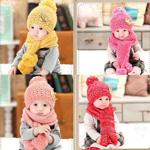 928c0dac9c00 Bonnet Chapeau Tricot Echarpe Chaud Hiver Pour Enfant Bébé Fille ...