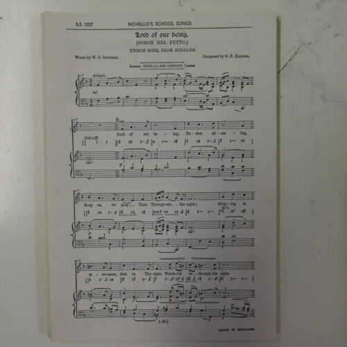 choral vocal score LORD OF OUR BEING handel UNISON