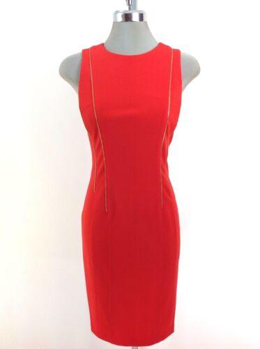 tubino rosso Dettaglio Wt Tango Donna cerniera oro Abito Klein New Calvin YwB6q