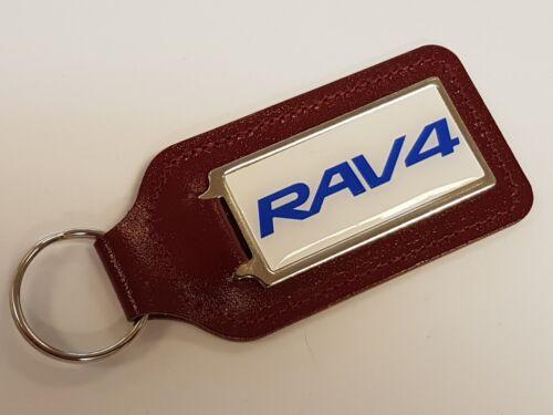 RAV4 BLUE WRITING /& WHITE BACKGROUND LEATHER KEYRING WITH DOMED STICKER