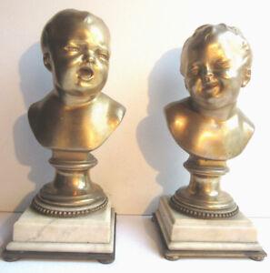 2-statues-bronze-Napoleon-III-serre-livres-Jean-qui-rit-et-Jean-qui-pleure